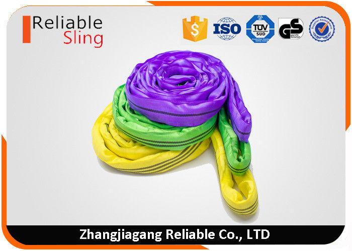 Pliable Endless Round Polyester Lifting Slings With Color Code Jacket Cover