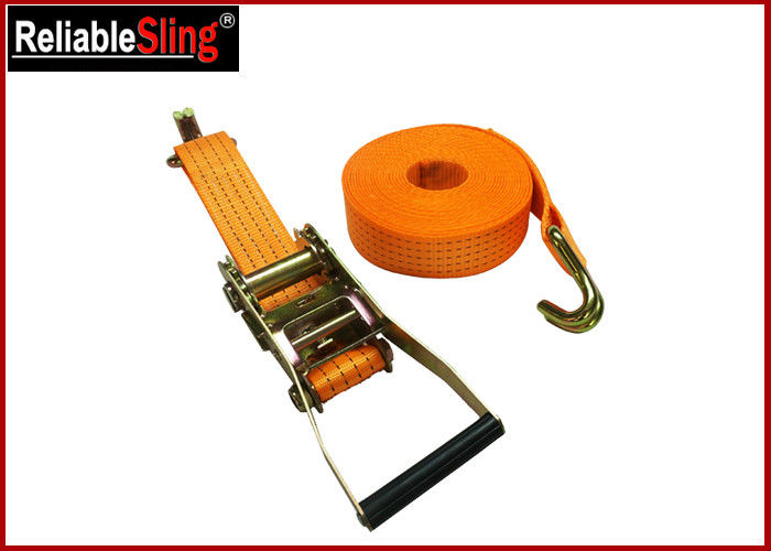 Yellow Ratchet Tie Down Strap 3000lbs Rated Capacity with Flat Snap Hooks